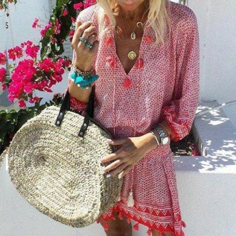 Fashion Mesh Tassel 5-Point   Sleeve V-Neck Dress