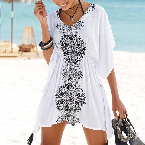 Bohemian V Neck Batwing Sleeve Printed Colour Elastic Tassel Pleated Cover Ups