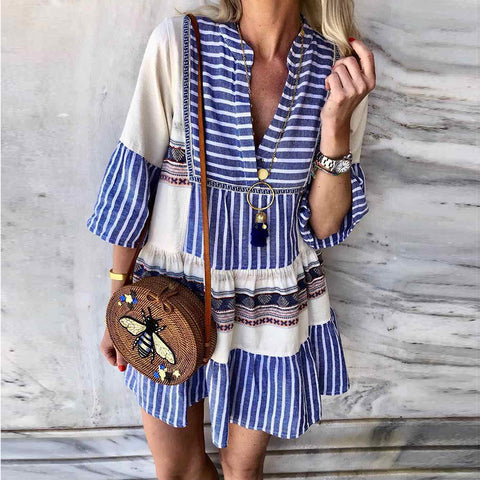 Bohemian V-Neck Stripe Long Sleeve Dress
