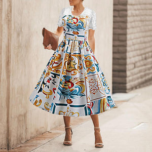 Vintage Lace Splicing Printed Colour Short Sleeve Hollow Out Dress