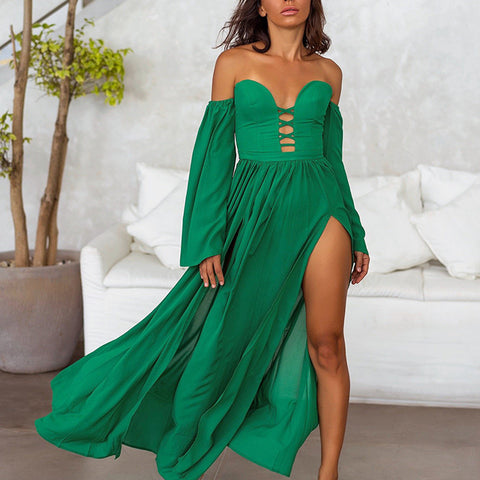 Sexy Bell Sleeve Bare Back Off-Shoulder Ruffled Pleated Slit Dress