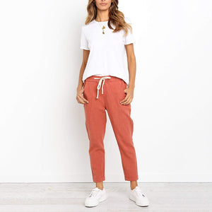 Casual Belted Pure Colour Elastic Cotton Pants