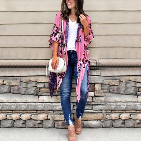 Casual Chiffon Irregular Printed Colour Halflong Sleeve Cardigan