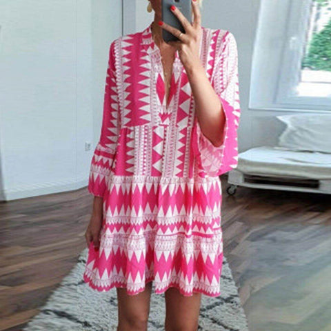 Fashion Casual Print Three-Point Sleeve V-Neck Pullover Shift Dress