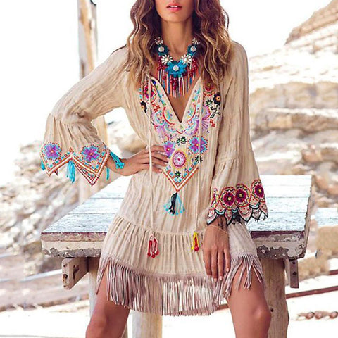 Bohemian Tassel Bell Sleeve V Neck Splicing Dress