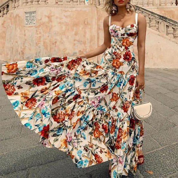 Sexy Printed Colour Sleeveless Bare Back Pleated Dress