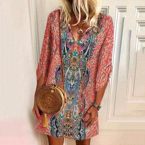 Summer Pattern Print Positioning Print Streamlined Casual Dress