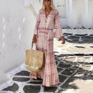 Women's Bohemia V Neck Print Long Sleeve Maxi Dress