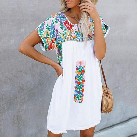 Fashion Print Short Sleeve Loose Dress