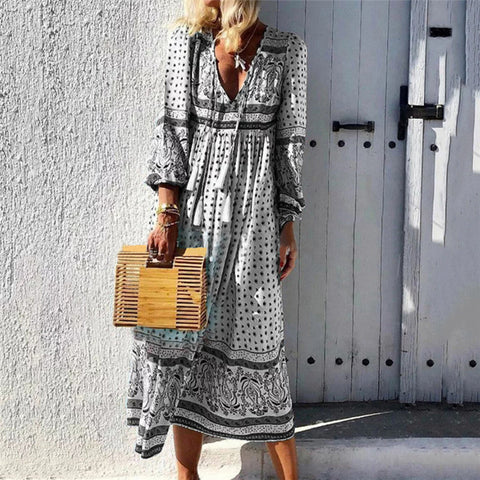 Fashion V Collar Printing Long Sleeves Vacation Dress