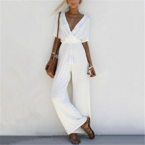V-Neck Tie Lace Up Wide Leg Jumpsuit