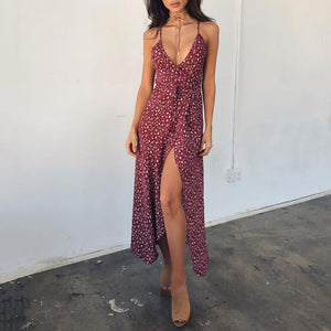 Sexy  Print Sling Forked Dress