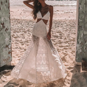 Sexy V Neck Sleeveless Sling Splicing Perspective Vacation Dress