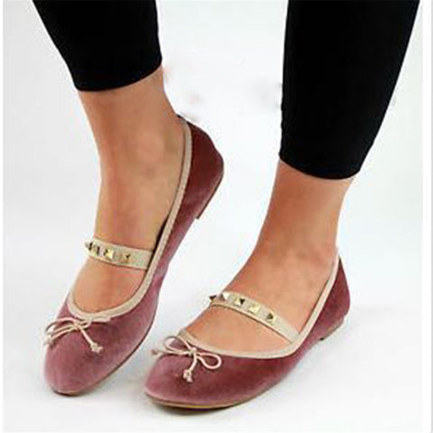 Women's Casual Comfort Rivet Bow   Flat Shoes
