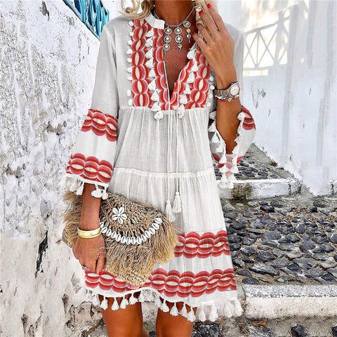 Women's Bohemian Tassel Flare Sleeve Dress