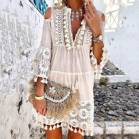 Women's Sweet V Neck Bracelet Sleeve Pure Color Lace Dress