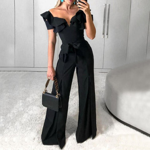 Modern Ruffled Peach Collar Belted Jumpsuit
