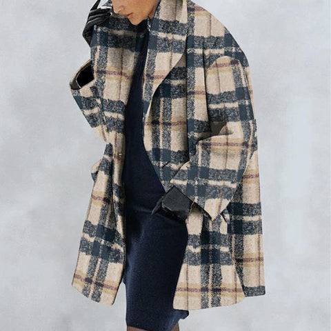 New Warm Fashion Plaid Print Shawl Collar Coat