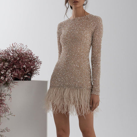 Fashion Champagne Fur Hem Party Dress