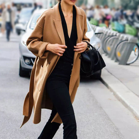 Simple fold-over collar dark brown long-sleeved pocket coat