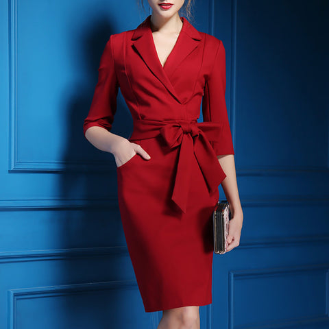 Commuting Suit Collar Belted Dress
