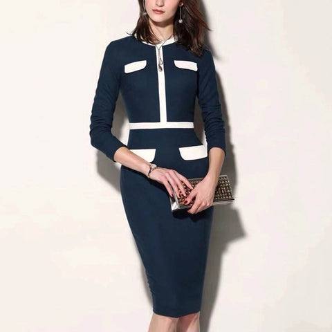 Round neck navy blue pocket dress