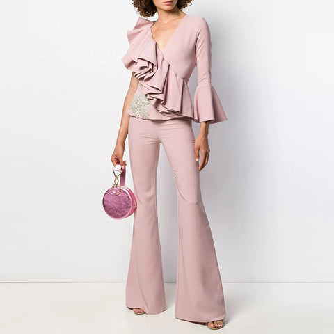 Stylish Long Sleeve Deep V Neck Ruffled Jumpsuit