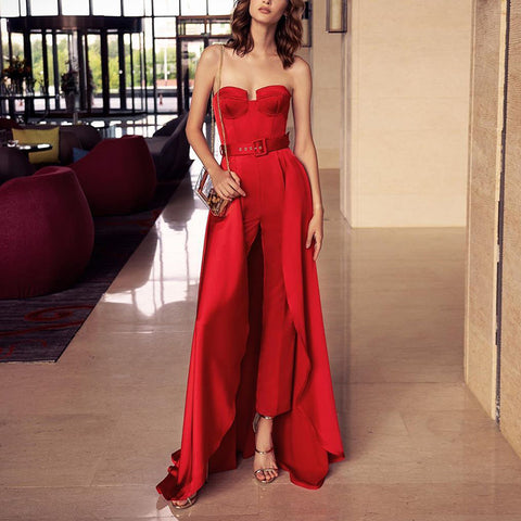 Fashion red scrub sleeveless floor-length jumpsuit