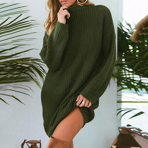 Solid Color Round Neck Loose Sweater