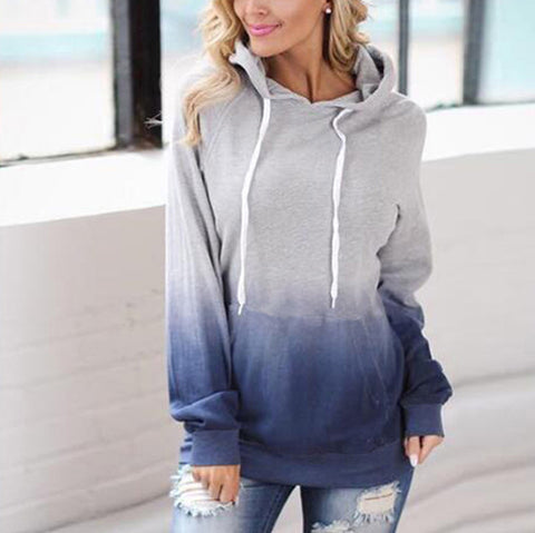 Women's Printed Hooded Pocket Sweatshirt