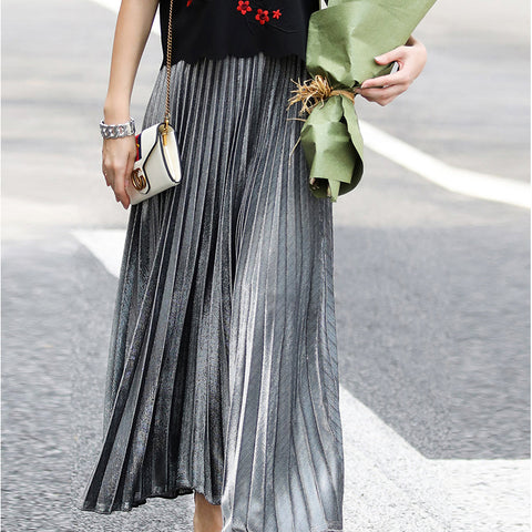 Fashion Plain Elastic Waist Bouffant Long Skirt