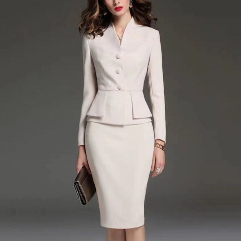 Women's fashion long sleeve suit skirt