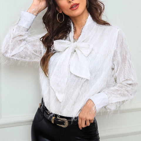 Mesh Fluffy Bowknot Blouse