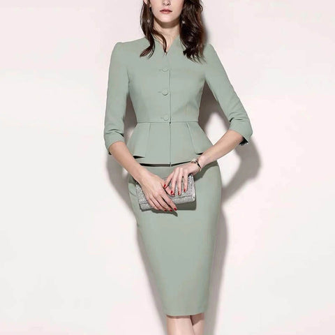 Solid color button top skirt commuter set