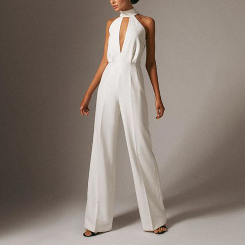 Fashion Solid Color Hollow Halter Wide Leg Jumpsuit