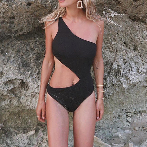Exposed  Waist One Shoulder Buckle Bow Tie Swimsuit