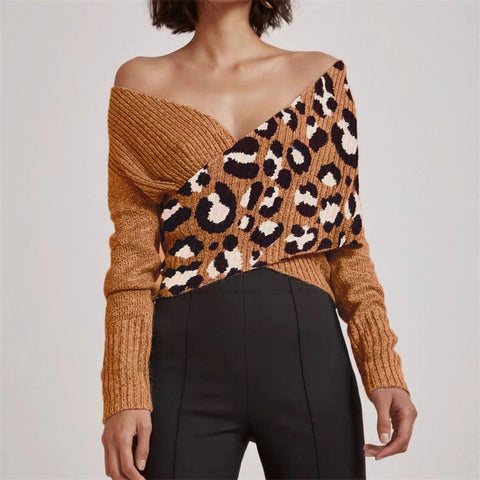 Fashion Long Sleeve Leopard Printed Sweater