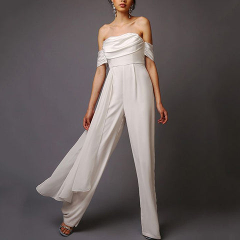 Women's Fashion Temperament Asymmetric Wide-Leg Jumpsuit