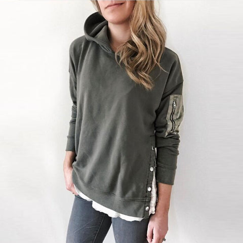 Fashion Hooded Solid Color Side Button Sweatshirt