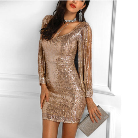 Sexy V-neck Sequined Long-sleeved Slim Hip Dress