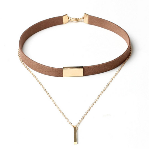 Layered Bar Pendant Velvet Choker Necklace