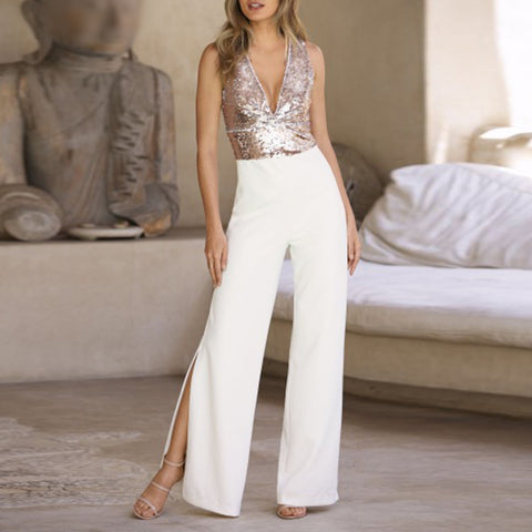 Fashion Deep V-neck Splicing Side Split Jumpsuit