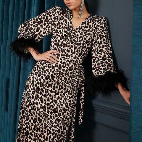 Fashion Leopard Sexy V-neck Lace Dress