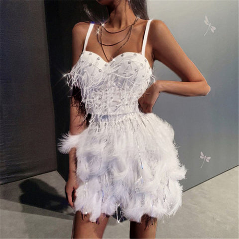 Fashion Sexy Feather Sling Mini Dress