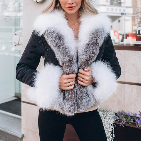 Women's fur collar furry sleeve coat