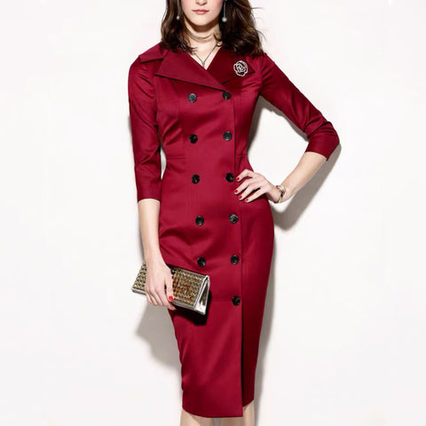 Elegant Dark Red Flip Neck Double-Breasted Buttoned Sleeve Dress