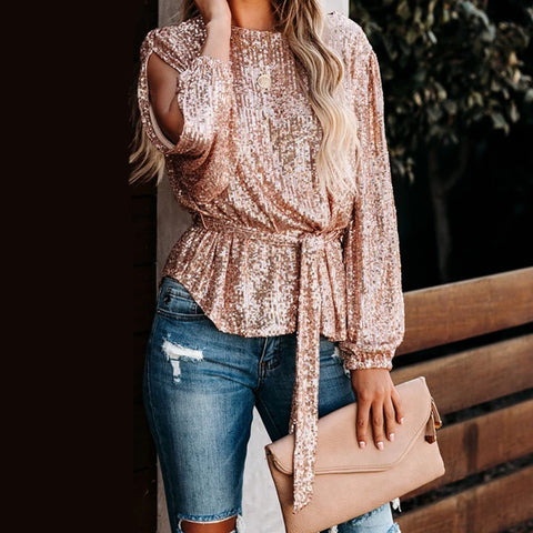 Fashion solid color sequined lace top
