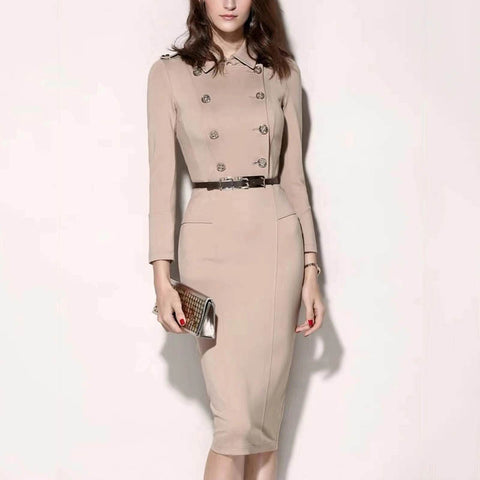 Lapel double-breasted slim long-sleeved dress