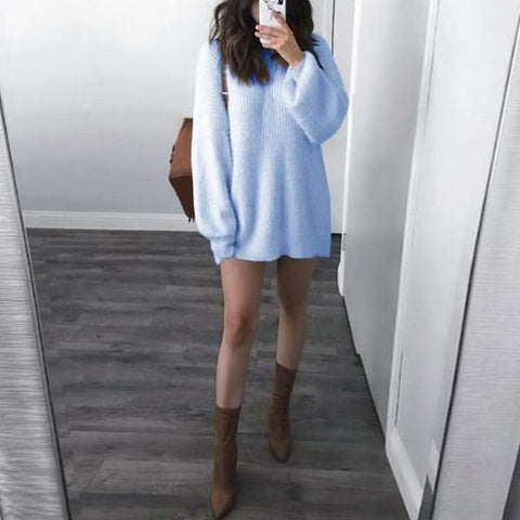 Pure Color Round Neck Long Sleeve Loose Sweater