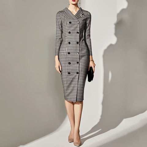 Temperament Plaid Lapel Double-Breasted Buttoned Long Sleeve Dress